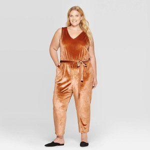 Ava & Viv Copper Brown Plus Size Velvet Jumpsuit